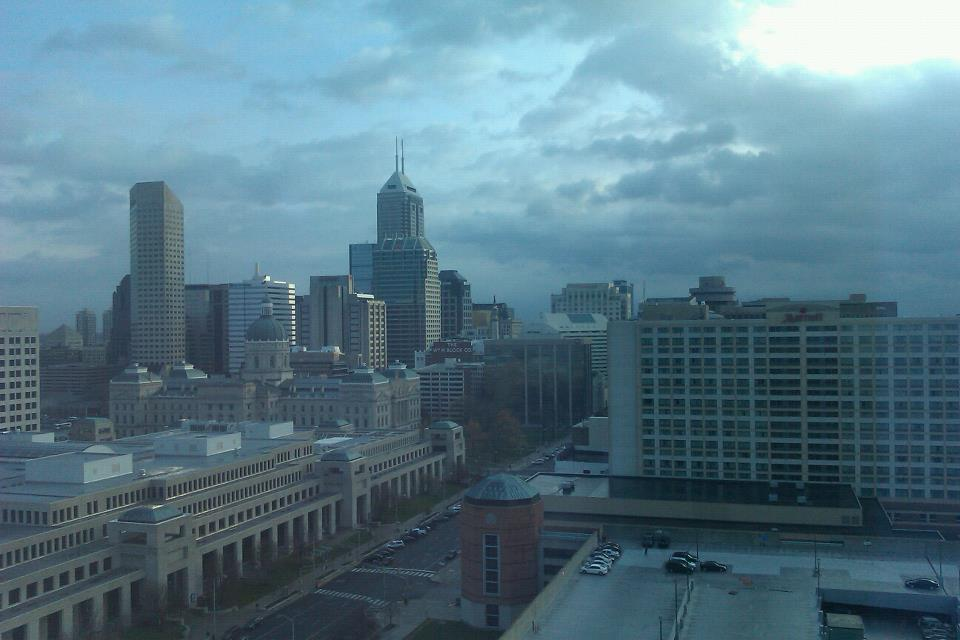 View from my hotel of the Indianapolis skyline