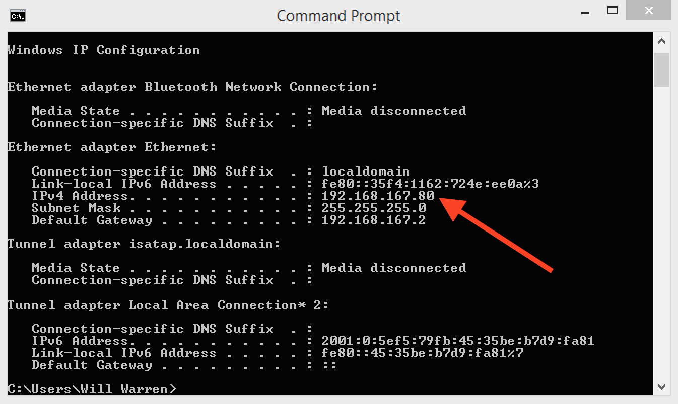 Screenshot of ipconfig output showing new IP address