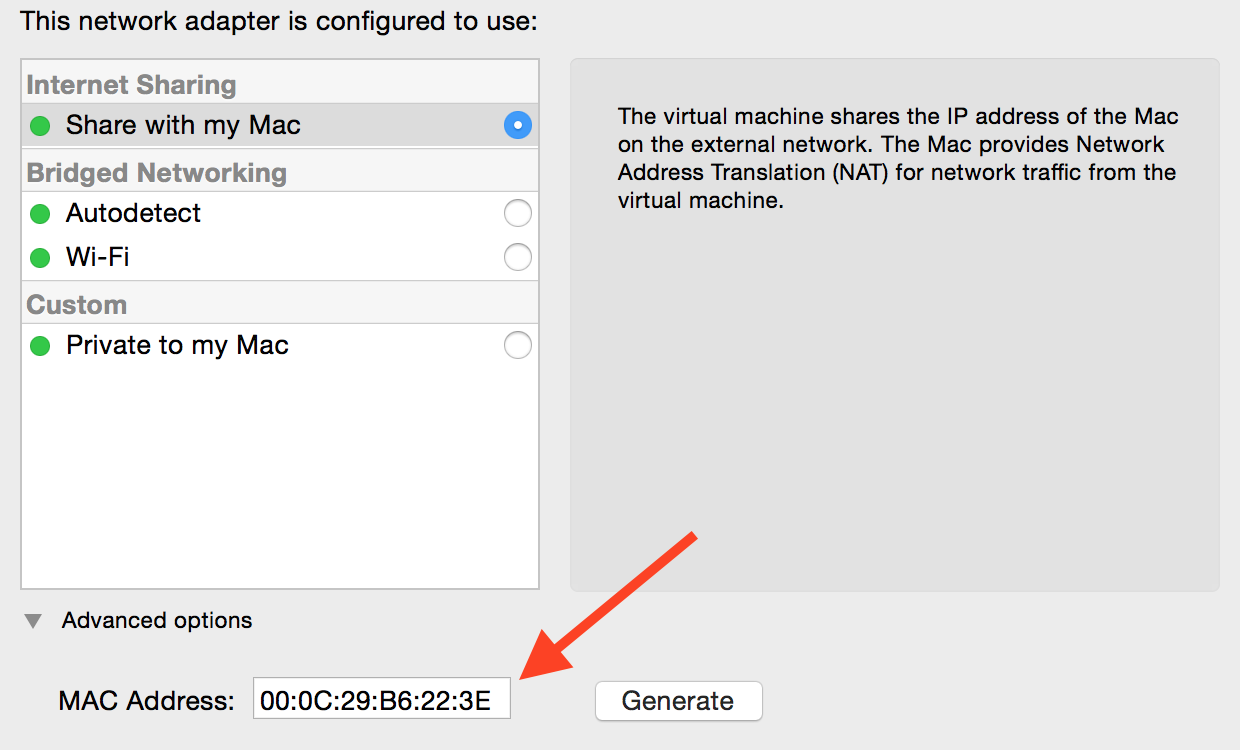 Screenshot of Network Adapter settings in VMware Fusion 7