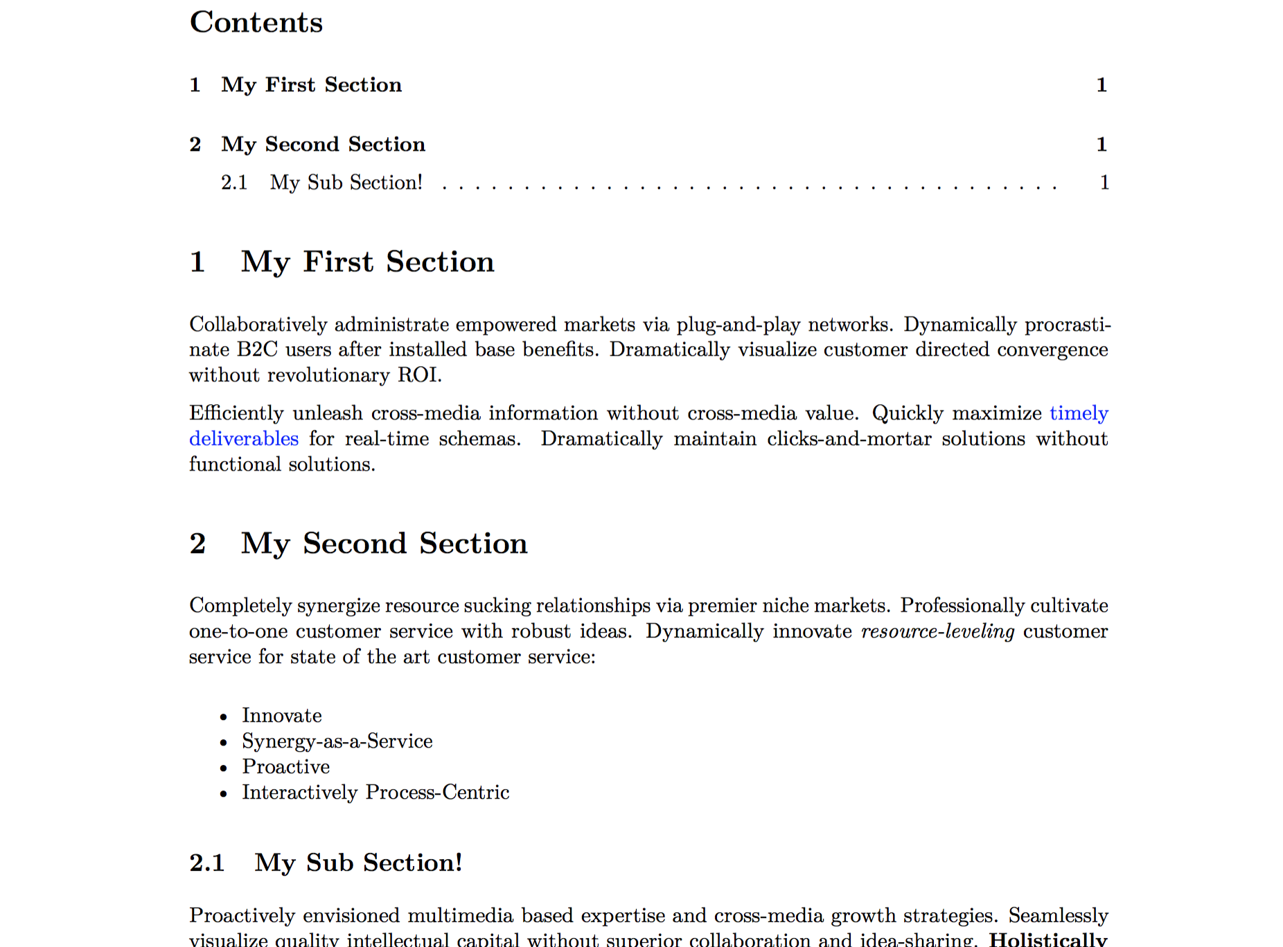 Screenshot of resultant PDF file