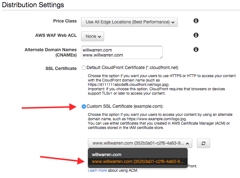 Enabling SSL on your CloudFront distribution