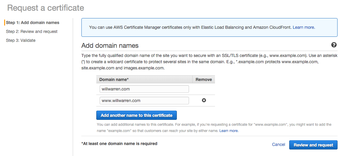 Requesting a certificate from ACM